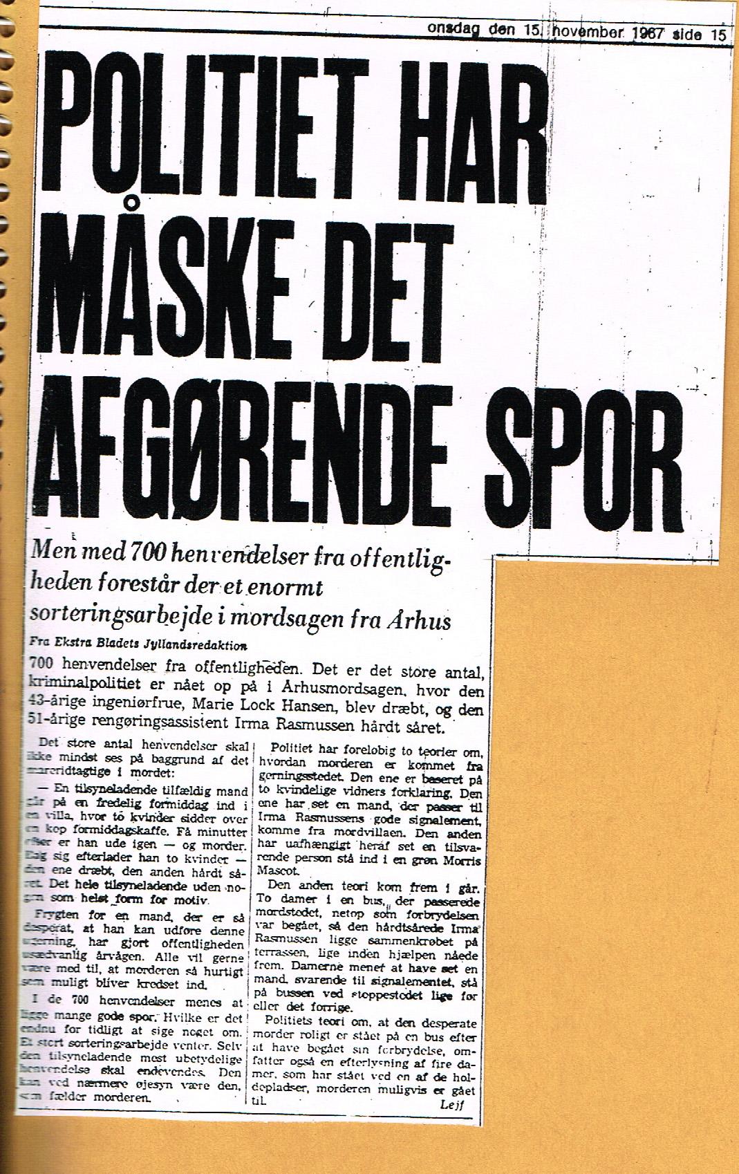 Højbjergmordet - Ekstra Bladet 15.11-1967