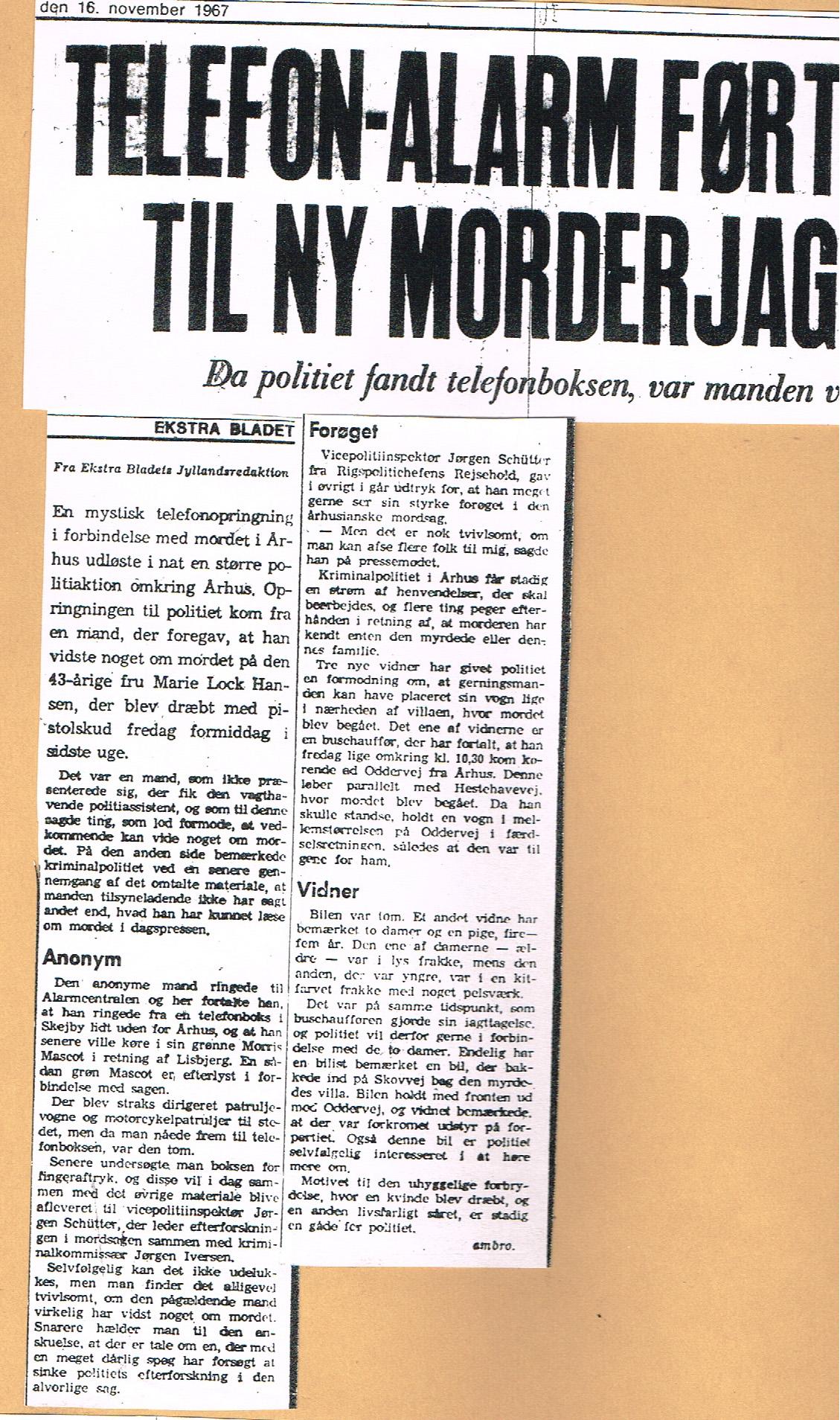 Højbjergmordet - Ekstra Bladet 16.11-1967