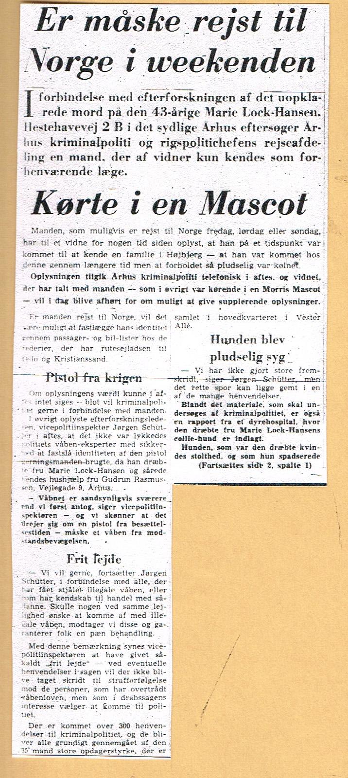 Højbjerg-mordet - Jyllands-Posten omtale nov. 1967