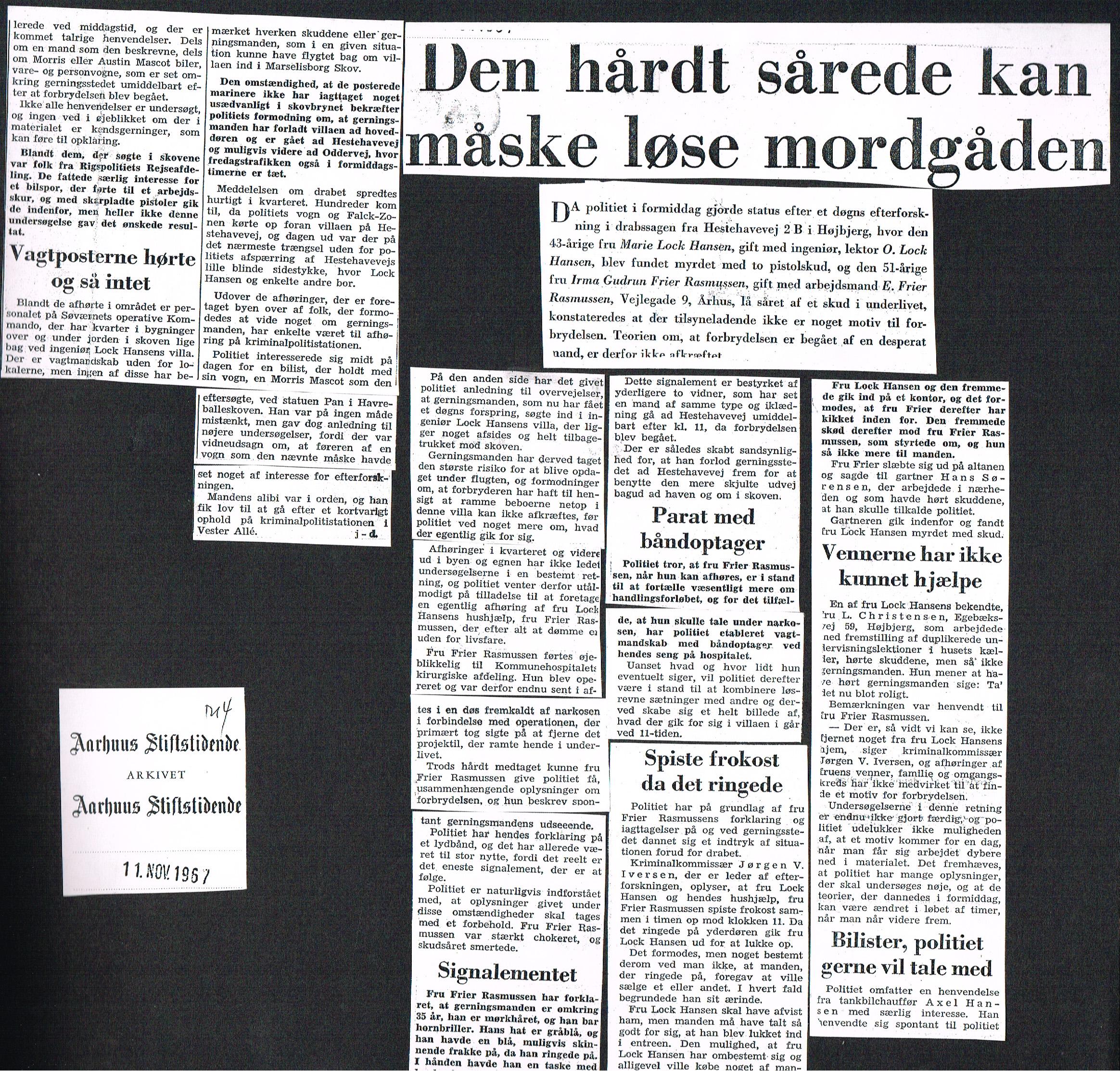Højbjerg-drabet Aarhus Stiftstidende 11. november 1967