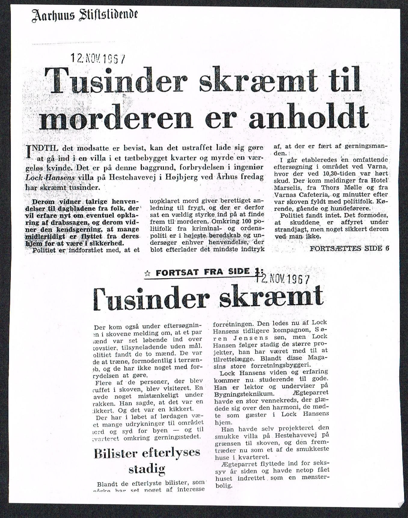 Højbjerg-drabet Omtale i Aarhus Stiftstidende 10 november 1967O