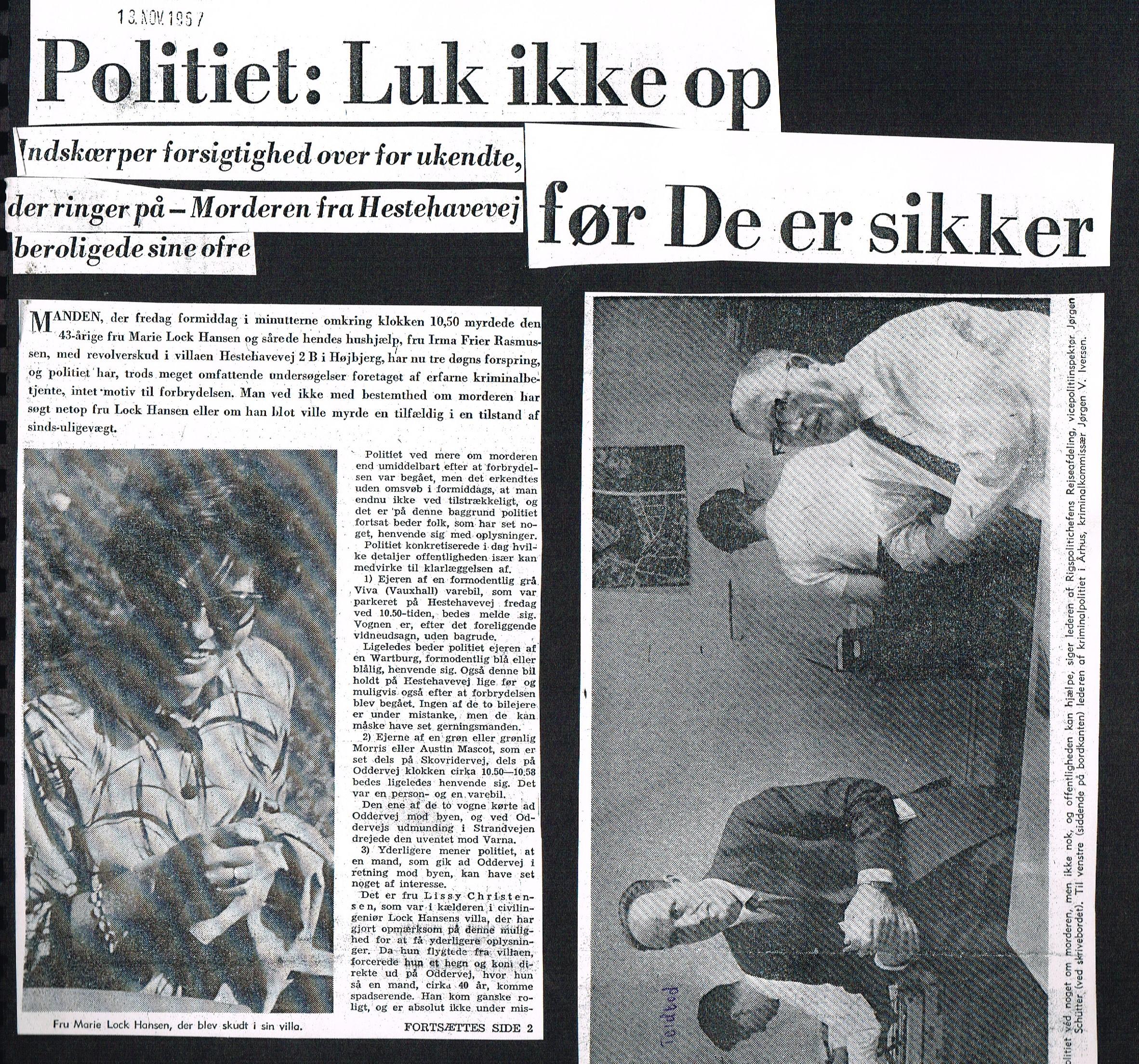 Højbjerg-drabet Aarhus Stiftstidende 13 november 1967