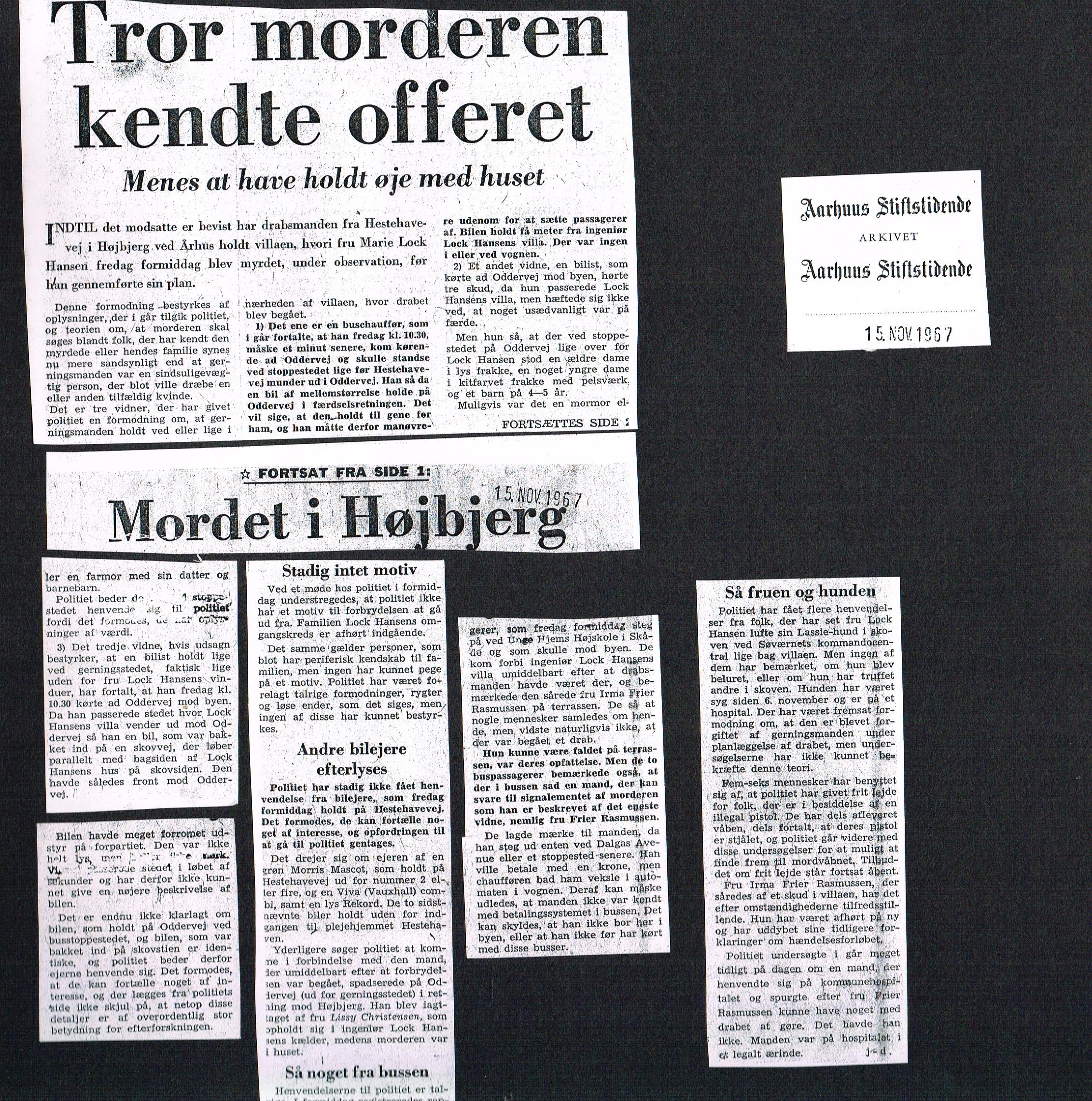 Højbjerg-drabet Aarhus Stiftstidende 15 november 1967