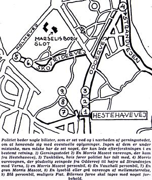 Højbjergmordet - Kort over forskellige bilers placering