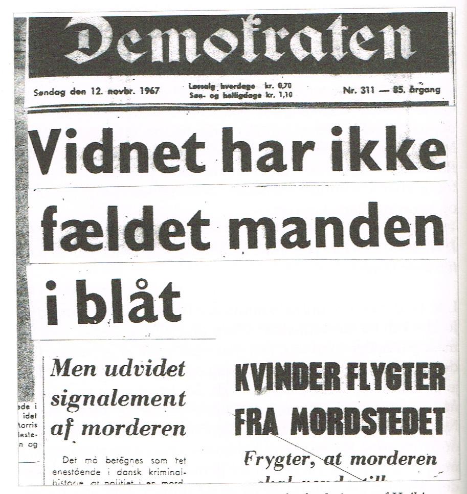 Højbjergmordet - Omtale i Demokraten 12.november 1967