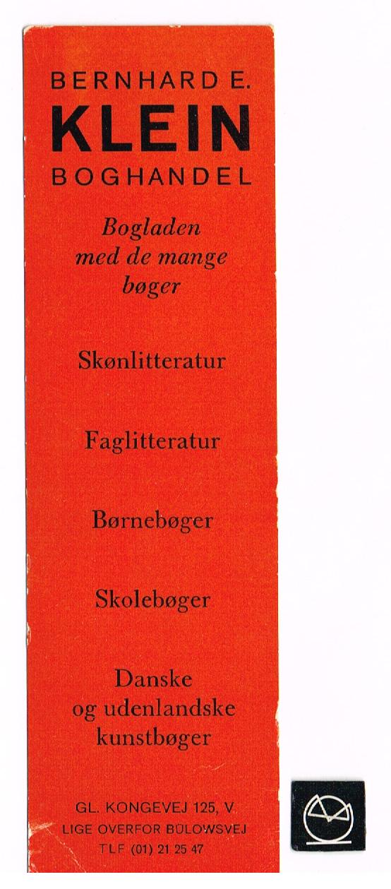 Bernhard E. Kleins Boghandel, Gl. Kongevej, København - bogmærke