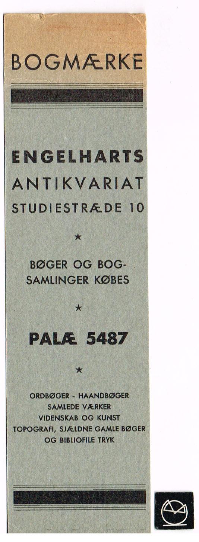Engelhardts Antikvariat, København - bogmærke