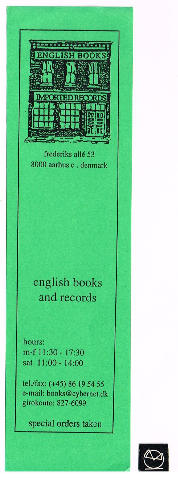 English Books, Frederiks Allé, Aarhus - bogmærke