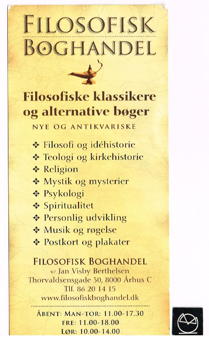 Filosofisk Boghandel, Aarhus - bogmærke