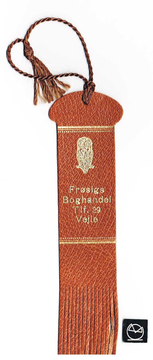 Frøsigs Boghandel, Vejle - Bogmærke af skind