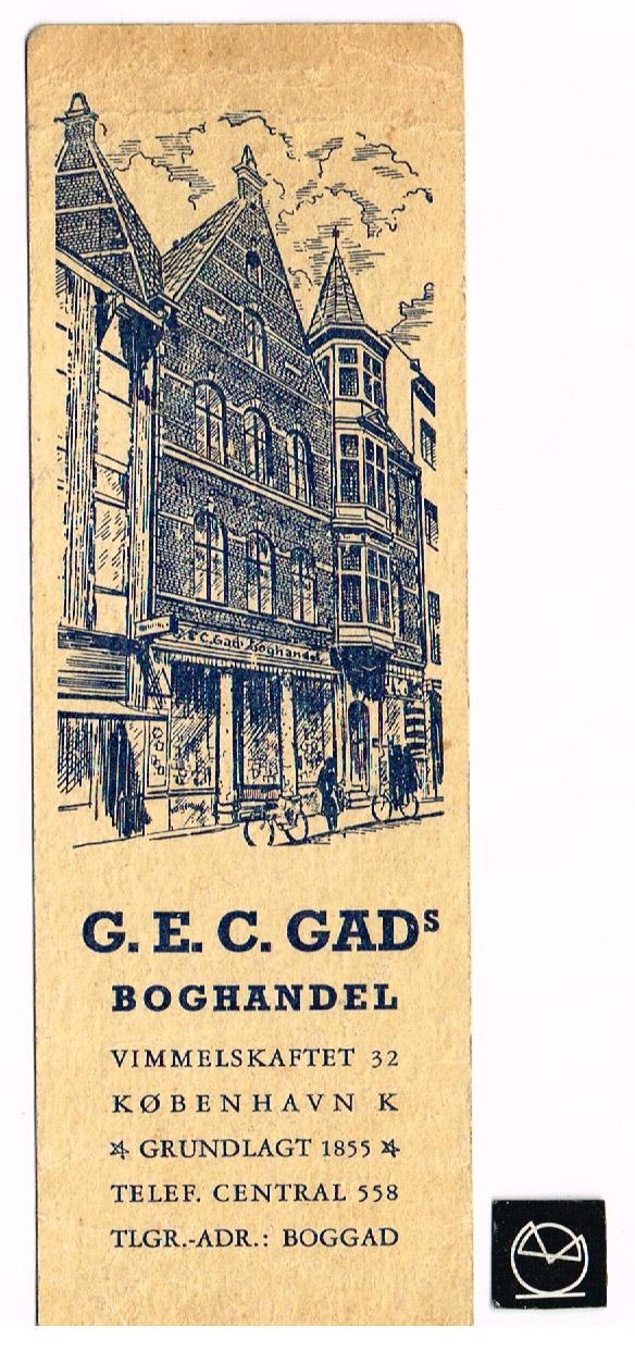G.E.C. Gads Boghandel, Vimmelskaftet, København - bogmærke