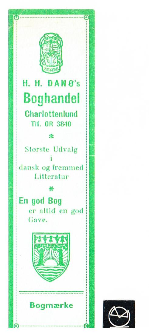 H.H. Danøs Boghandel, Charlottenlund - bogmærke