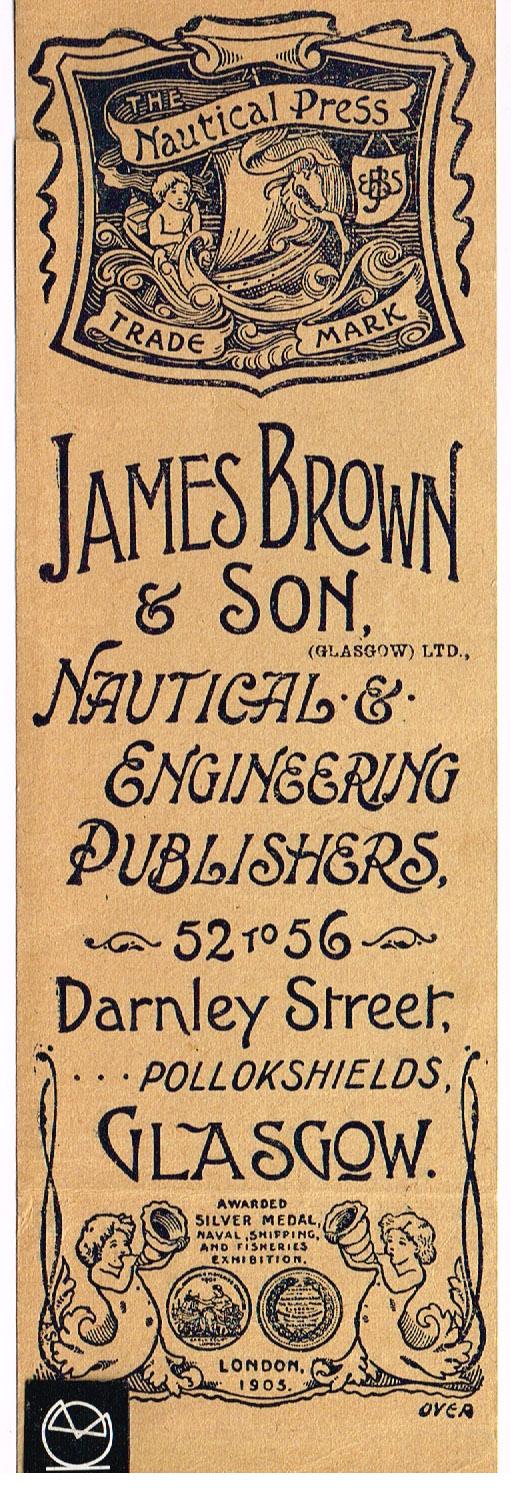 James Brown & Son, The Nautical Press, Darnley Street, Glasgow - bogmærke