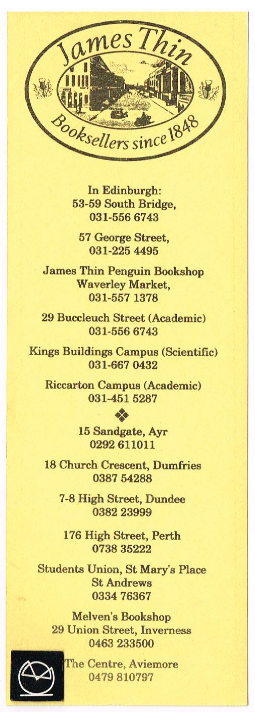James Thin, Edinburgh - Booksellers since 1848 - bogmærke
