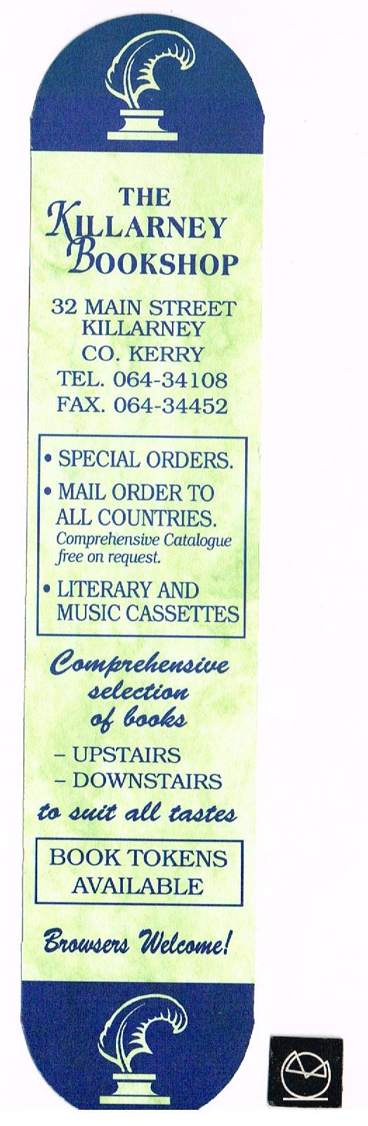 Killarney Bookshop, Kerry - bogmærke