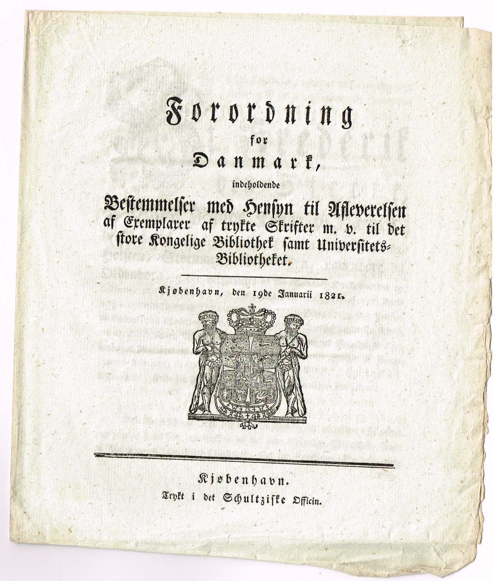 det kgl. bibliotek trykte skrifter forordning 1821