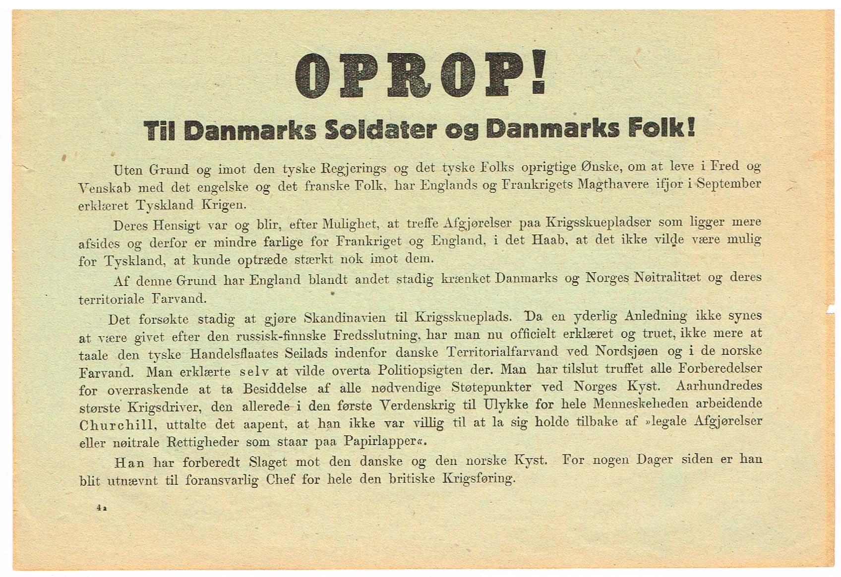 oprob 2. verdenskrig danmarks besættelse